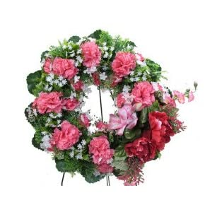 Deluxe Silk Floral Wreath in Pink for Grave-site Presentation in Remembrance of Loved Ones. Easel Mounted