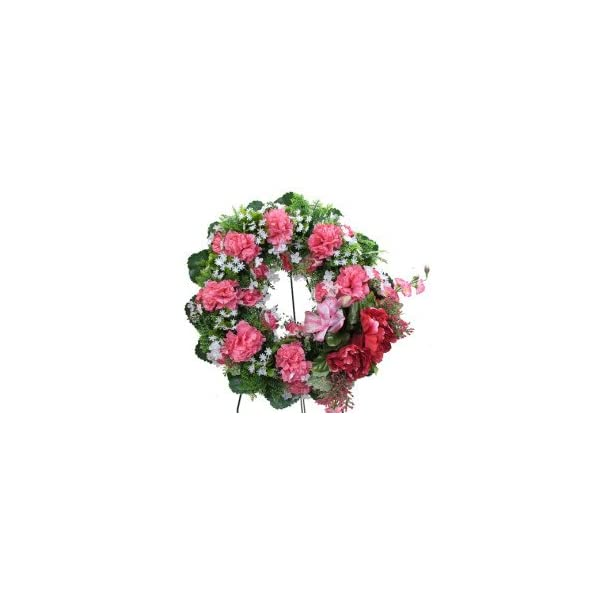 Memory Lane Memorials Deluxe Silk Floral Wreath in Pink for Grave-site Presentation in Remembrance of Loved Ones. Easel Mounted
