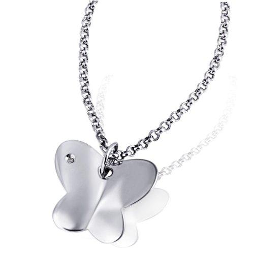 Goldmaid Damen-Halskette Schmetterling 925 Sterlingsilber 1 Diamant Kettenanhänger Schmuck Diamantkette