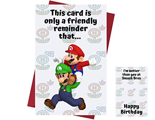 Funny Mario Brothers Birthday Card for Men & Women – Birthday Card for Super Mario Fans – Funny Super Mario Birthday Card for Friends, Family, Coworkers, Etc. – Funny Mario & Luigi Birthday Card