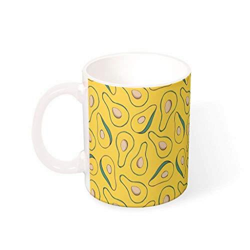 O2ECH-8 11 OZ Avocado-Gelb Wasser Tee Mug mit Griff Porzellan Personal Mug - Lustige Früchte Urlaub Weihnachten, Büro verwenden White 330ml