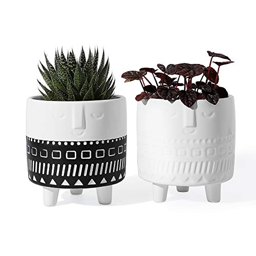 POTEY 212121 Ceramic Face Planter - 4.4' Indoor Plants Containers...