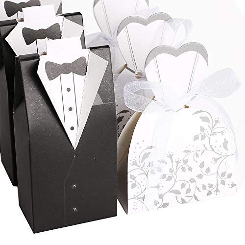 Ndier Cle De Tous Favor de la Boda Cajas de Chocolate Novia y el Novio Diseño Blanco y Negro del Paquete de 100 (50 Novias y Novios 50)