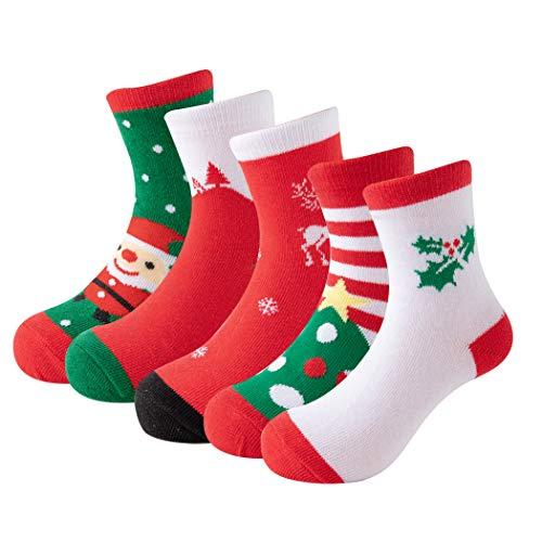 Yvinak 5 Pairs Christmas Socks Kids Cotton Warm Socks Children Santa Claus Boys Girls Toddler Winter Autumn Socks (Color a, 6-8 Years)