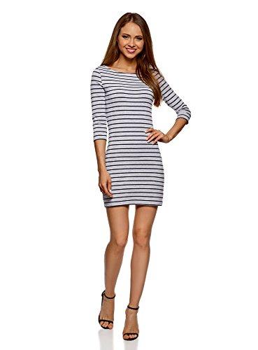oodji Ultra Damen Baumwoll-Kleid Basic, Grau, DE 42 / EU 44 / XL