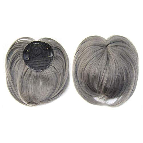 2020 Ladies Silky Clip-On Hair topper, Heat Resistant Fiber Silky Clip-On Hair Topper Short Straight Hair Wig, One Piece Clip in Fringe Hair Extensions for Women. (Dark gray)