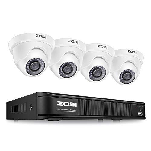 ZOSI 1080P H.265+ 8 Channel Video Security Camera System,Surveillance DVR Recorder and 4 x 1080p Weatherproof CCTV Dome Camera Outdoor/Indoor with 80ft Night Vision, Remote Access (No Hard Drive)