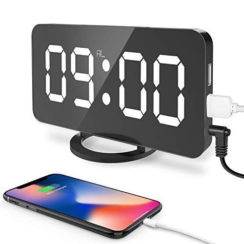 Digitaler Wecker,Cynthia 6,5 Zoll großen LED-Anzeige,3-Stufen Helligkeitskontrolle,Spiegel Tischuhr mit Schlummerfunktion und Dual-USB-Ladegerät-Anschluss für Smartphone(Schwarz)
