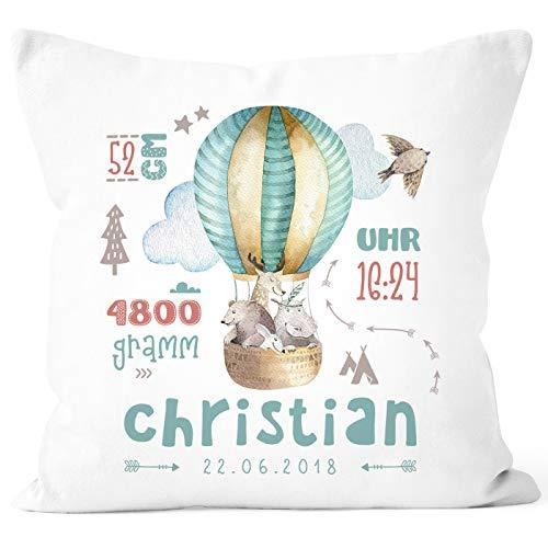 SpecialMe® personalisierbares Kissen zur Geburt Heißluftballon, Geburtskissen Jungen Mädchen, Geschenk Geburt Wunschname, Kissen-Bezug ohne Füllung weiß Unisize