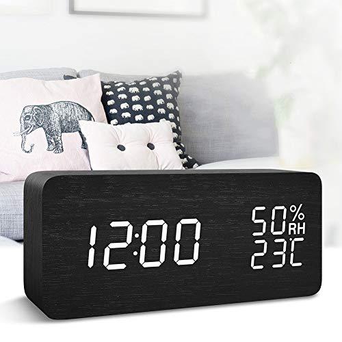FONCBIEN Sveglia Digitale LED Legno da Comodino con Calendario/Temperatura/umidità, due modalità alimentations USB e Batterie 12H/24h Sveglia Elettronica Rettangolo Nero