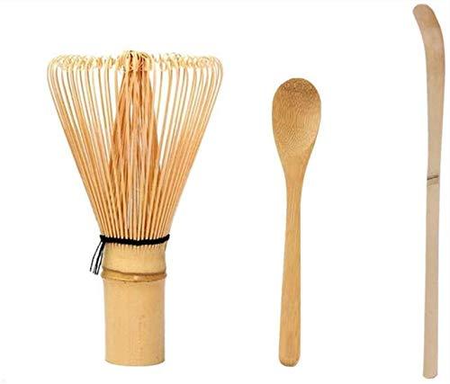 SHANGHh Bambus-Teelöffel + Matcha-Bambus-Schneebesen-Werkzeug Grüner Tee-Schneebesen-Werkzeugset für die traditionelle japanische Teezeremonie
