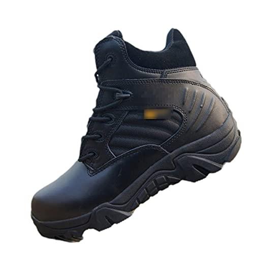 Botas militares de invierno de los hombres de cuero botas de nieve tácticas desierto y tobillo botas de senderismo zapatos, Parte superior baja negra., 44 EU