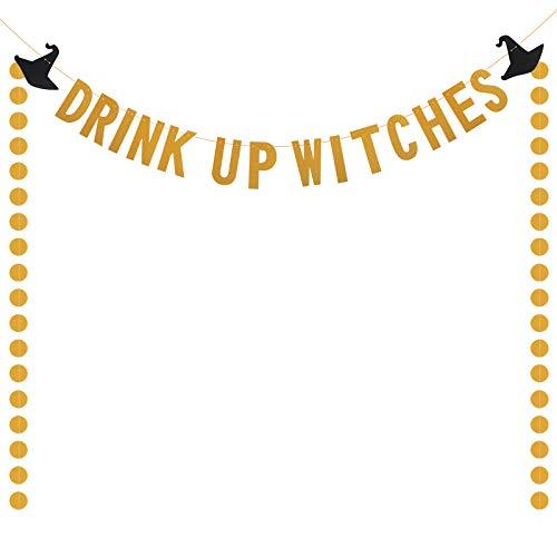 LANMOK Hexen Halloween Deko Banner, Drink Up Witches Gold Glitzer Girlande Dessertisch für Karneval Kindergeburtstag Party