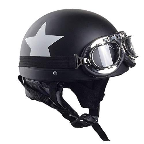 YAJAN-helmet Jet Vintage Helm Motorrad,ECE Zertifiziert mit Integriertem Sonnenvisier UVschutzbrille Schnellverschluss für Herren Damen Pedallokomotive Cruiser Roller Chopper Pilot 54-59cm