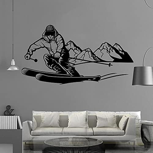 Zdklfm69 Pegatinas de Pared Adhesivos Pared Moda esquí hogar Decorativo guardería habitación decoración Impermeable Pared Arte calcomanía 76x146cm