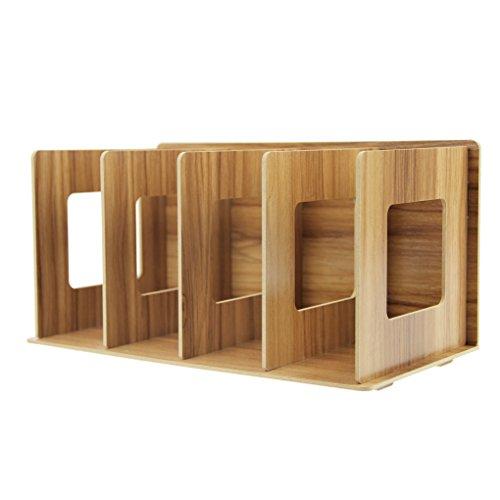 Revistero desmontable pie archivador revistero de madera DIY y organizador coleccionistas Organizador de escritorio con 4compartimentos Catálogo Revista para libro CD plana, color marrón