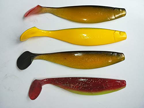 SANDAFishing 4 hektergummi 16 cm 18 cm träbete fiske med gummifisch set sandig torsk vägg gummi bete fisk Set 9