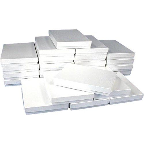 White Swirl Cotton Filled Jewelry Box #75 (Pack of 10)