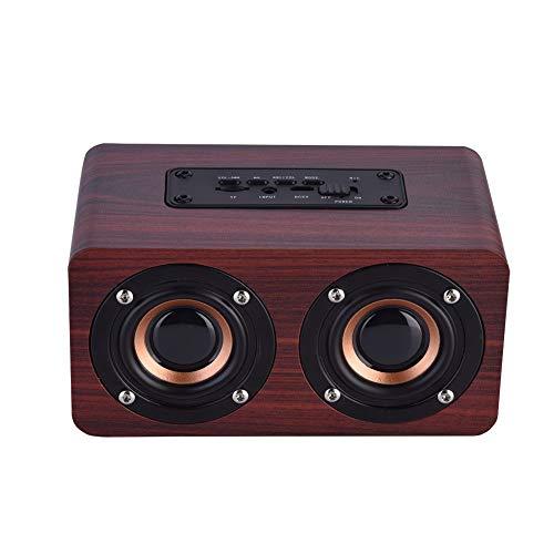 Madera Altavoz Portátil Bluetooth, mini estéreo de altavoces inalámbrico Altavoces Bluetooth 4.2 con 2 Hornos, for el uso personal de interior al aire libre del partido del partido de picnic al aire l