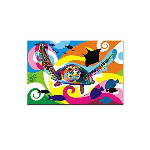 zgwxp77 Bunte Meeresschildkröte Leinwand Dekoration Malerei für Kinderzimmer Kindergarten Jungen und Mädchen Zimmer Dekoration Poster Druck, a, 40*50cm Frameless