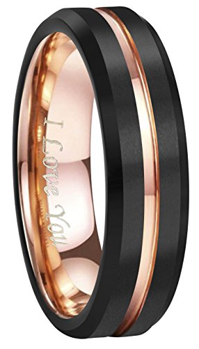 4mm 6mm 8mm 10mm Rose Gold Groove Black Matte Finish Tungsten Carbide Wedding Band Ring Engraved'I Love You' (6mm,9)