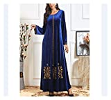 DSJTCH Women Velvet Long Sleeve Autumn Winter Abaya Muslim Long Dress Arab Jilbab Turkish Plus Size Maxi Robe Kaftan Ramadan Islam Dark Blue, Size : XXXX-Large