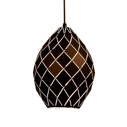 HTLLT Industrial Retro Oval Chandelier Simple Wrought Iron Pendant Light European and American Hanging Lamp External Black Gold Hollow Lampshade E27 Lamp Holder for Restaurant Bar Cafe