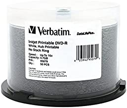 Verbatim DVD-R 4.7GB 16X DataLifePlus White Inkjet Printable Surface, Hub Printable - 50pk Spindle