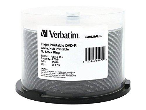Verbatim DVD-R 4.7GB 16X DataLifePlus White Inkjet Printable Surface, Hub Printable - 50pk Spindle