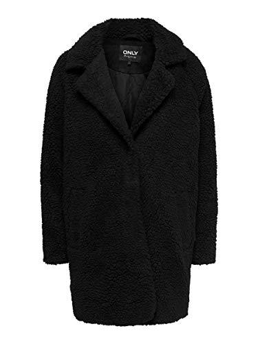 ONLY Damen ONLAURELIA Sherpa Coat OTW Mantel, Black, L