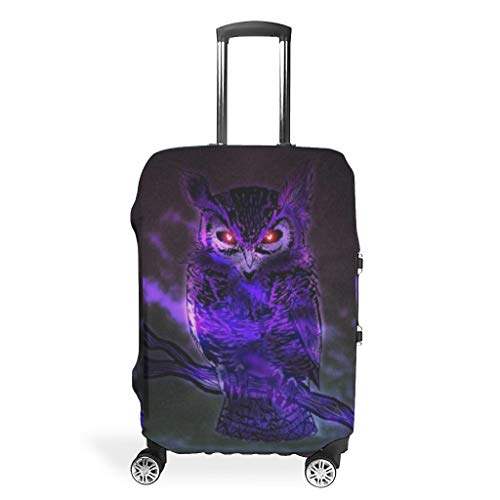 Owl Animal-Mirror Suitcase Cover Foldable Washable Fits 18-32 Inch for Wheeled Suitcase Over Softsided White 22-24in