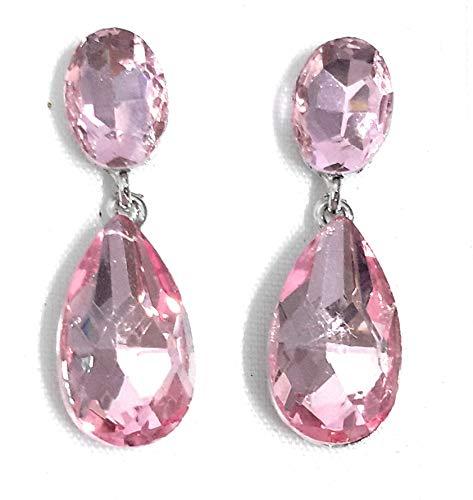 Pendientes largos mujer bisutería cristales de colores fiesta boda chapado plata, rosa claro