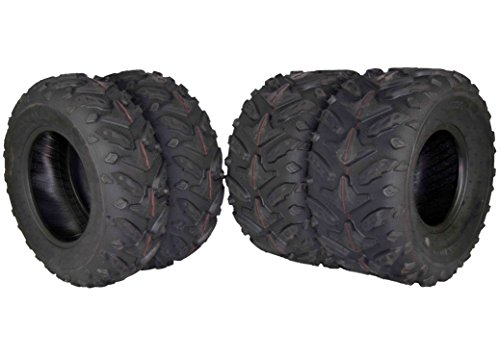 MASSFX Grinder Series ATV Dual Compound Tread Honda Recon All Years (Four Pack Two Front 22x7-11 Two Rear 22x10-9) Mud Sand Snow and Rock Tires