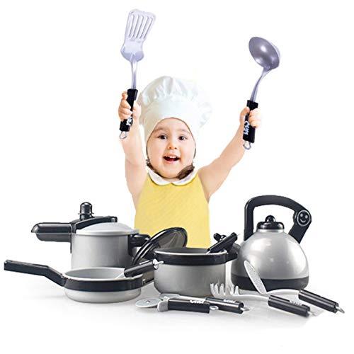Augneveres Juguete de Cocina para Niños Simulación Juego Utensilio de Juguete Kit 10 Piezas Cocina Acero Inoxidable Juego de Cocina Juego de sartenes para niñas y niños (sin Juguetes de attractively