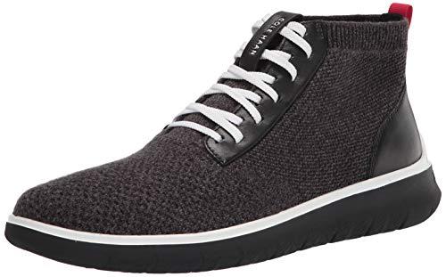 Cole Haan Men's Generation Zerogrand Stitchlite HIGH TOP Sneaker, Black/Gray Pinstripe Knit/Optic White, 10.5