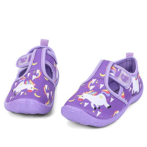 nerteo Girls Beach Shoes for Water Sport, Comfort Walking Sneakers Sandals for Outdoor, Camp/Pool Swim Purple/Rainbow/Unicorn US 10 Toddler