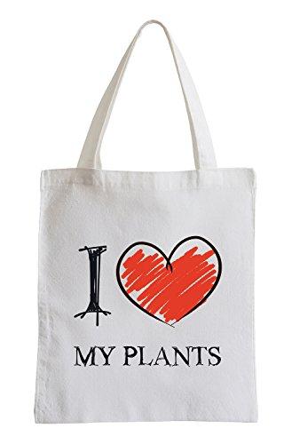 I Love My Plantes Fun Sac de Jute