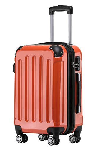 BEIBYE Zwillingsrollen 2048 Hartschale Trolley Koffer Reisekoffer Taschen Gepäck in M-L-XL-Set (Orangen, L)
