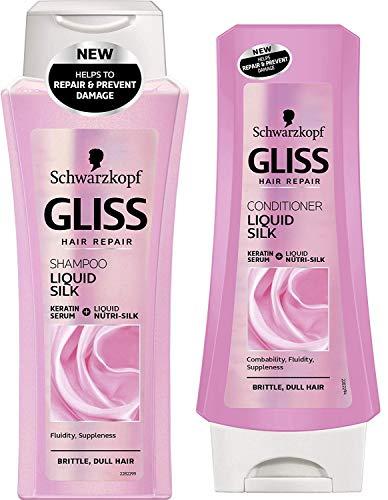 Schwarzkopf Gliss Shampoo und Spülung Duo Set mit Nutri-Seide Flüssiges Keratin 250Ml und 200Ml