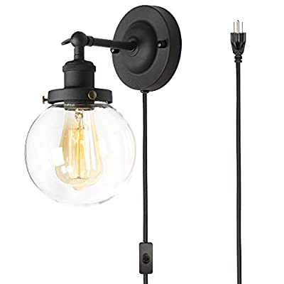 XIDING UL Plug in Wall Sconce, Premium Vintage Industrial Wall Light Fixture, Edison Wall Lamp, Upgrade Matte Black Finish, Plug-in or Hardwire 2 in 1 Installation Method, with 94.5in Cord