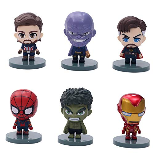 6PCS Superheros cake toppers set MEET Superhero Cake Toppers MIni marvel action figures marvel cake decoration for the Children Shower Birthday Party Supplies