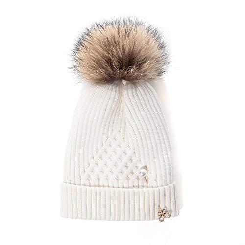 LADYBRO Lady Bommelmütze mit großen Fellbommeln – Winter-Strickmütze für Damen, Dicke und warme Mützen, Totenkopf-Mütze - Weiß - Large