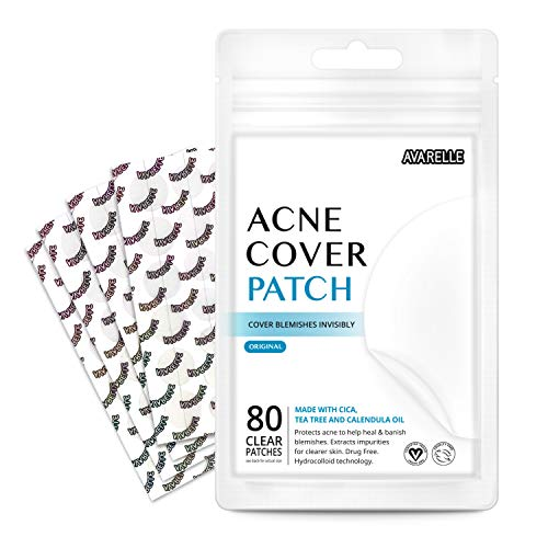 Avarelle Acne Patches (80 Count) Original Hydrocolloid, Tea Tree, Calendula Oil, CICA. Certified Vegan & Cruelty-Free (80 PATCHES)