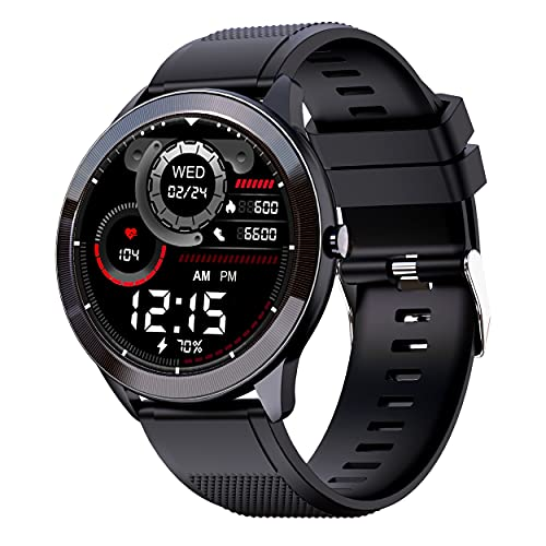 """Maxima Max Pro X4 Smartwatch with SpO2, Up to 15 Day Battery life, 1.3"""" Round Full-touch Display with Ultra Bright Screen of 380 Nits, 10+ Sports Mode, Continuous Heart Rate Monitoring, & Unlimited Customized Watch Faces (Black Silicone)"""