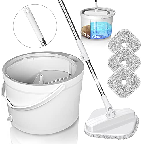 KASTEWILL Microfiber Spin Mop and Bucket System, Spinning Mops for Floor Cleaning Support Self Separation Sewage and Clean Water, Spinner Mop for Wood Floors with 4 Microfiber Pads