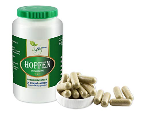 VITAIDEAL VEGAN® Hopfen-Blüten (Humulus Iupulus, Hopfenblüten) 180 pflanzliche Kapseln je 350mg, rein natürlich ohne Zusatzstoffe.