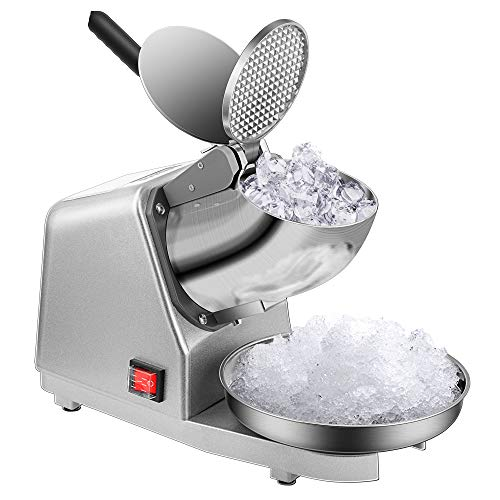 VIVOHOME Electric Dual Blades Ice Crusher Shaver Snow Cone Maker Machine Silver 143lbs/hr for Home and Commerical Use