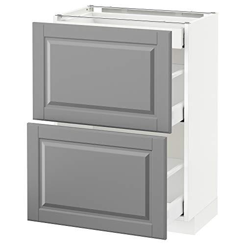 METOD/MAXIMERA kabina podłogowa z 2 frontami/3 szufladami 60 x 39,5 x 88 cm biały/Bodbyn szary