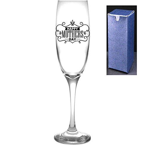 fantaisie gravé/imprimé Prosecco Flûte à champagne – Happy fête des mères, Noir, Do Not Engrave A Message On The Reverse Side