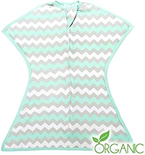 Chevron Mint Organic Zipadee-Zip Swaddle Transition, Extra Small 3-6 Months (8-13 lbs, 18-26 inches)